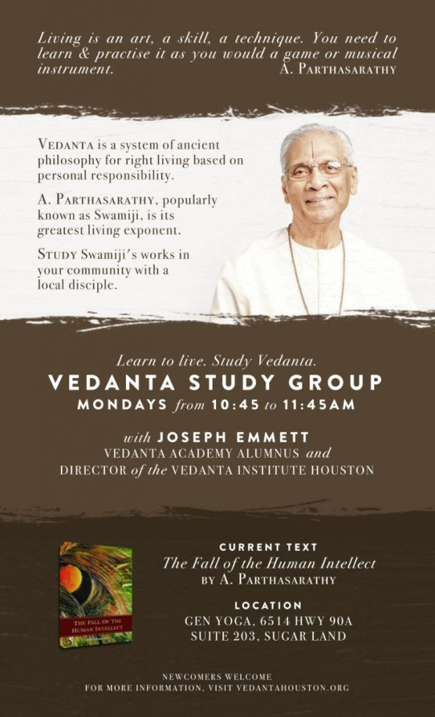 Vedanta Study Group with Joseph Emmett on Mondays