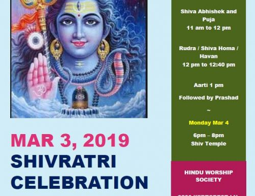 Hindu Worship Society Celebrating Maha Shivratri on March 3