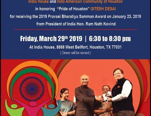 Honoring Gitesh Desai at India house