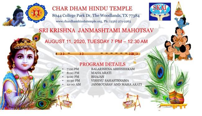 Char Dham Hindu Temple Janmashtami 2020