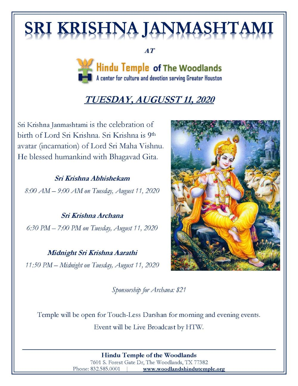 Sri Krishna Janmashtami at Hindu Templte of The Woodlands